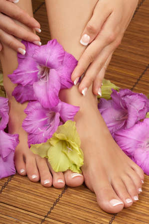 Pedicure and manicure spa with orchids