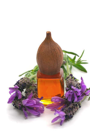 Spa concept with aromatice lavender and massage oil