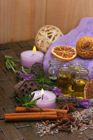 Spa concept with lavender, massage oil, aromatherapy items Archivio Fotografico
