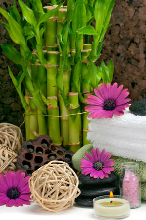 Spa scene with bamboo, towels, aromatic candles, bath salt, pebbles and daisies