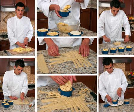 Apple pie making collage Banque d'images