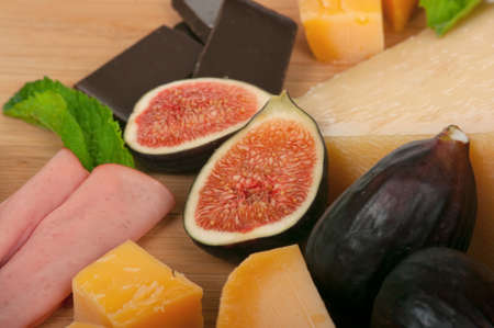 Cheese, figs and chocolate