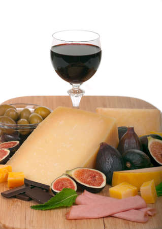 Cheese, wine, figs and olives