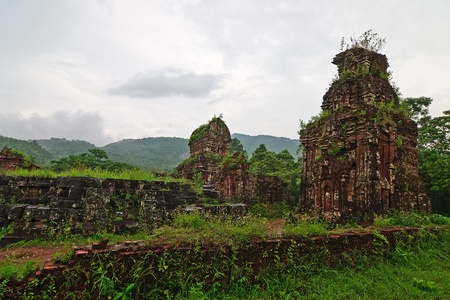 Towers were built by the Cham civilization in My Son, Quang Nam, Vietnam  photo