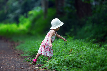 Adorable little girl hiking in the forest on summer day  photo
