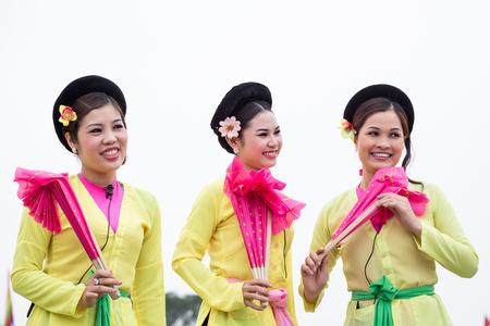 HANOI - VIETNAM, APRIL 6, 2014  The people in a folk festival in Hanoi, Vietnam