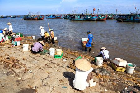 HAIHAU, VIETNAM - JUNE 29  Fishermen work in the fishing village of Hai Hau , Vietnam on June 29, 2014  Hai Hau is a district in northern Vietnam