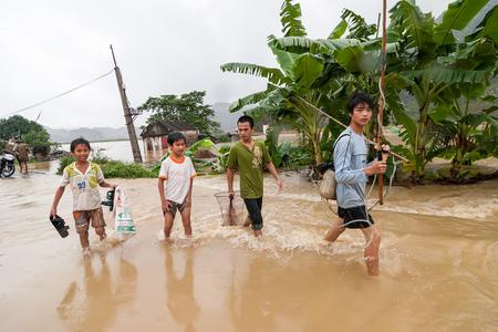 NINHBINH, VIETNAM - NOVEMBER 01, 2008  Unidentified children in the flood zone in Gia Vien District, Ninh Binh Province, Vietnam