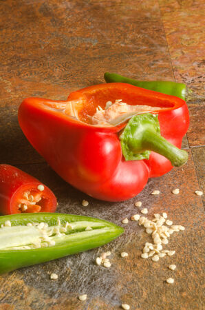 detail of a red bell pepper with seeds