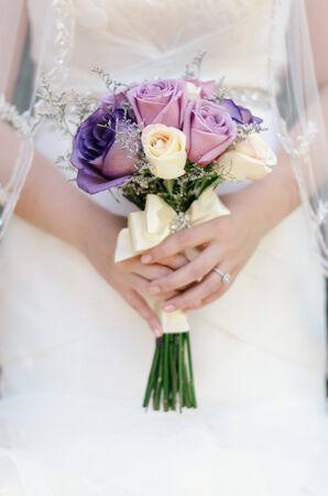 a bridal bouquet in a bride