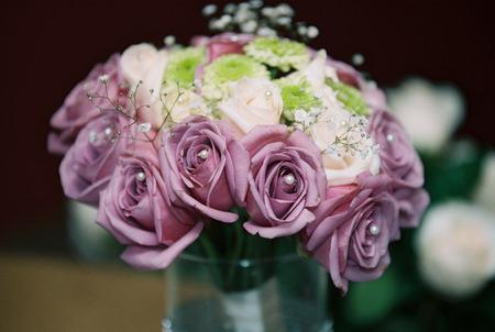 detail of a bridal bouquet