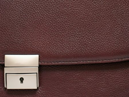 imprinted: Fastener and part of a leather business portfolio. A portfolio from a natural imprinted skin of brown colour. Stock Photo