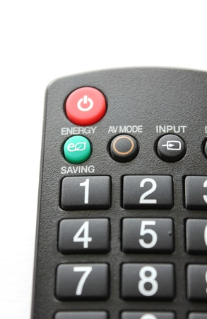 The remote control unit. Focus on the green button ENERGY SAVING Stock Photo - 9417100