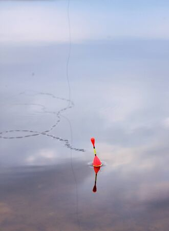 unruffled: Fishing float on a water unruffled surface