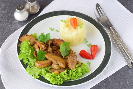 testicles: Fried bull testicles with cream and herbs served with mashed potato on a white plate on an abstract background. Healthy food concept Stock Photo