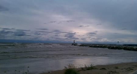 lake michigan lighthouse: Two Rivers, Wi Faro en el lago Michigan