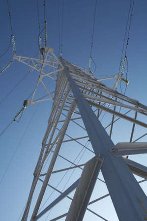 isolator insulator: High-voltage prop against the background of blue sky.