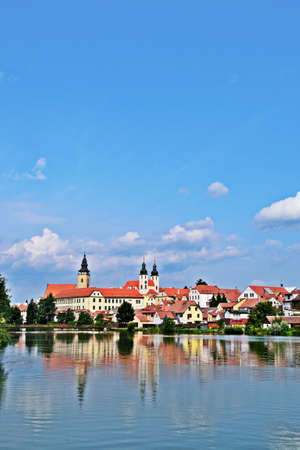 Reflection of town Telc in Czech Republic