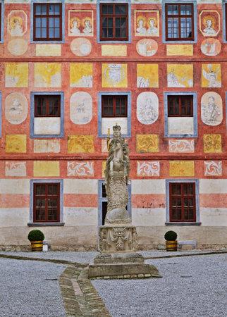 Painted courtyard of Forchtenstein Castle in Austria Reklamní fotografie - 120451020