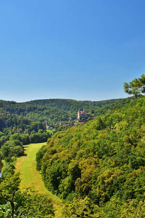 View of Hardegg castle in the National Park Thayatal / Podyji Austria and Czech Republic 스톡 콘텐츠