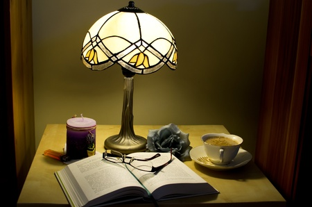 night table: Composition on a bedside table