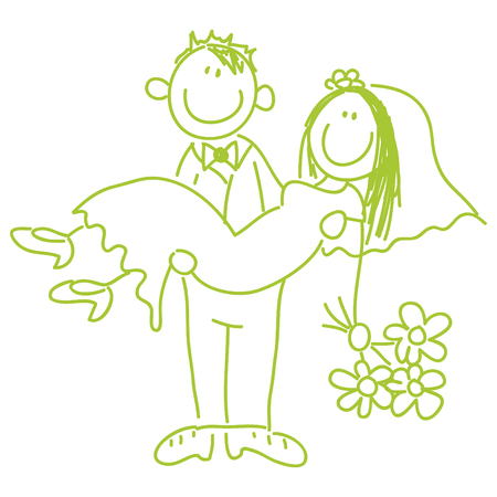 groom and bride: bride and groom - wedding - illustration