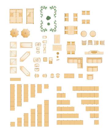 sgabelli: mobili - illustrazione per floorplans  architetti Vettoriali