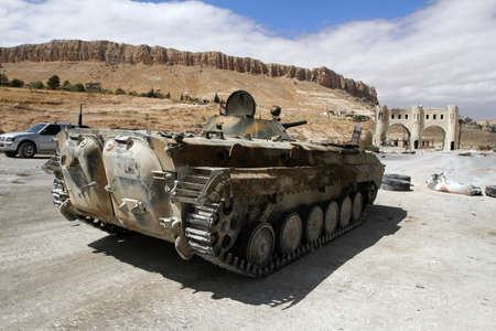 Infantry fighting vehicle of the Syrian National Army near the entry to Maloula town, Syria, September 2013 Sajtókép