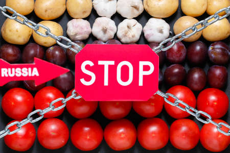 extermination: Chain, a stop and a Russia signs on a vegetables background, in context of sanctions and extermination of food in Russia