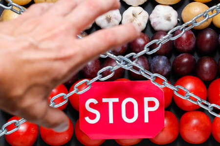 extermination: Chain, a stop sign and a grabbing hand on a vegetables background, in context of sanctions and extermination of food in Russia