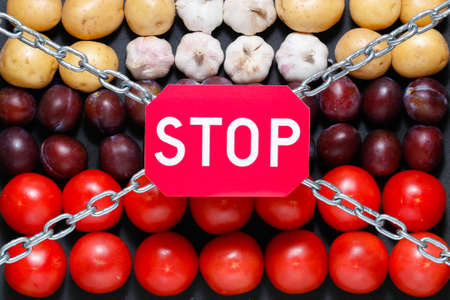 extermination: Chain and a stop sign on a vegetables background, in context of sanctions and extermination of food in Russia