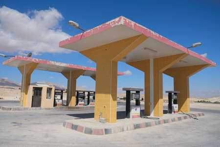 syrian civil war: Syria - September 22: Filling station empty due to shortage of fuel during Syrian civil war on September 22, 2013 in an area between cities of Damascus and Homs, Syria