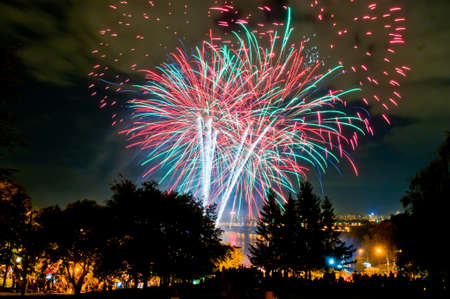 sky line: Fireworks and sky line in Kyiv, Ukraine
