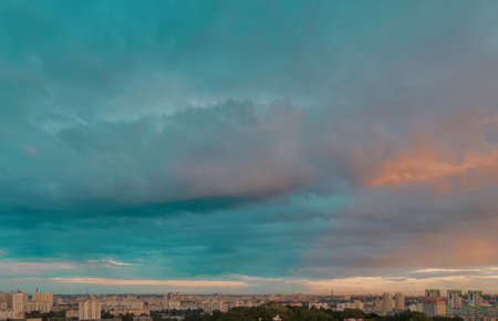 Dramatic sky urban landscape in Kyiv, Ukraine
