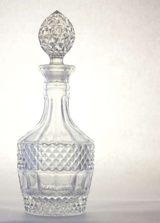 Heavy leaded crystal decanter for storing fine brandy. photo