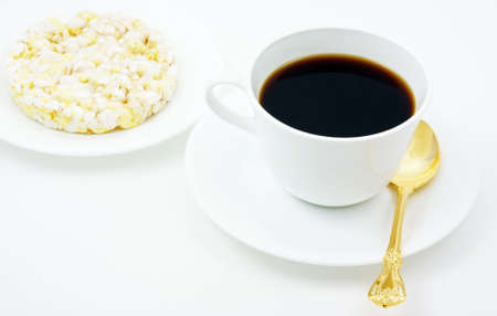 calorie: Coffee with a snack of a low calorie rice cake.