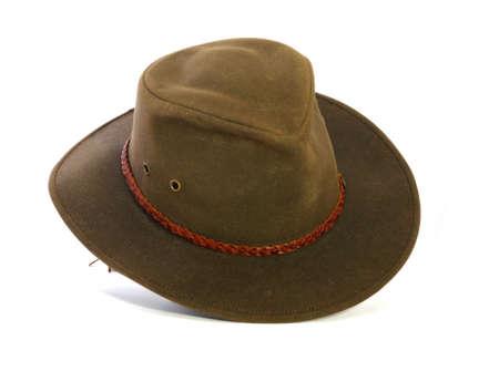 Mooi bruine gevoeld hoed met leder band en ventilatie gaten. Stockfoto