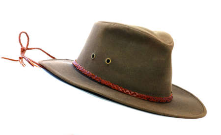 Brown felt hat with leather band and ventilation holes.