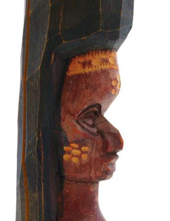 wierd: Wierd African art statue of a woman made out of wood.  Stock Photo
