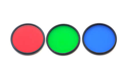 threaded: Green red and blue filters used in photography.