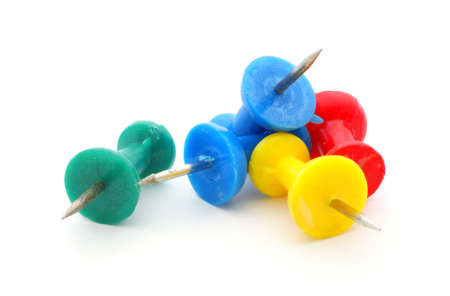 Five very useful sharp plastic office pins.