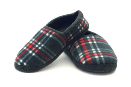 A warm and cozy pair of flannel slippers.