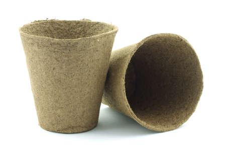 turba: Dos macetas de turba plantaci�n listo para usar.