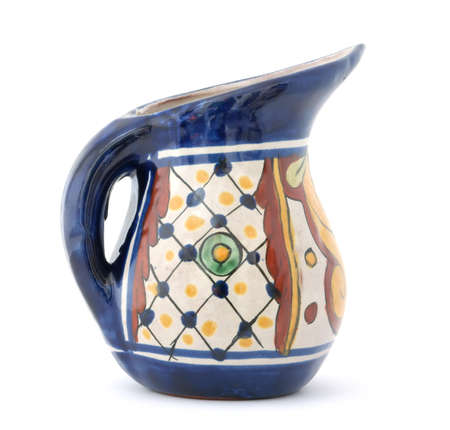 ewer: Colorful ewer with handle and pointed spout.  Stock Photo