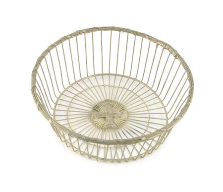 silver plated: Silver plated old wire basket Stock Photo
