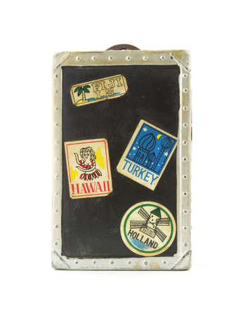 Vintage toy travel trunk bank  photo