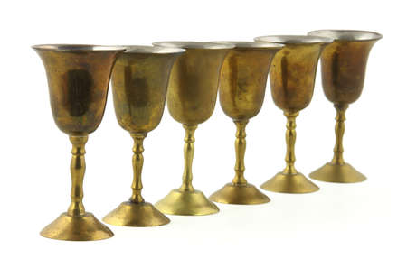 tarnished: Small metal goblets  Stock Photo