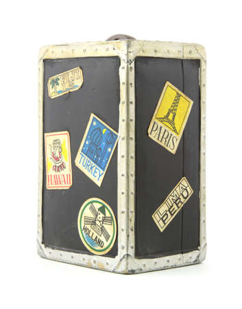 Old childrens travel trunk toy bank photo