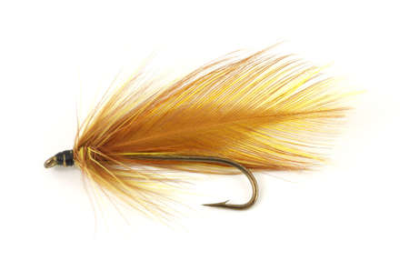 A brown hand made fly fishing fly against a white background.