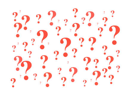A group of various sized red question marks against a white background. photo